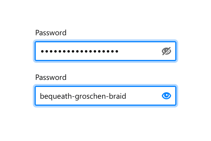 Interaction of a password field